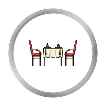 pareja comiendo: Restaurant table icon in cartoon style isolated on white background. Restaurant symbol stock vector illustration.