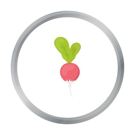 Radish icon cartoon. Singe vegetables icon from the eco food cartoon.
