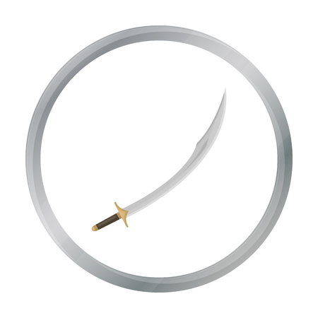 scimitar: Kilij icon in cartoon style isolated on white background. Turkey symbol stock vector illustration.