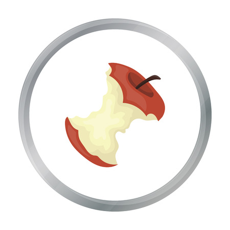 Stub of apple icon in cartoon style isolated on white background. Trash and garbage symbol stock vector illustration.