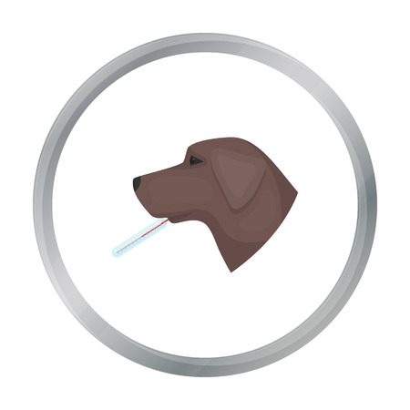 Dog with thermometer icon in cartoon style isolated on white background. Veterinary clinic symbol stock vector illustration.