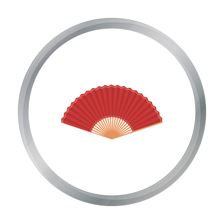 cartoom: Folding fan icon in cartoon style isolated on white background. Theater symbol stock vector illustration
