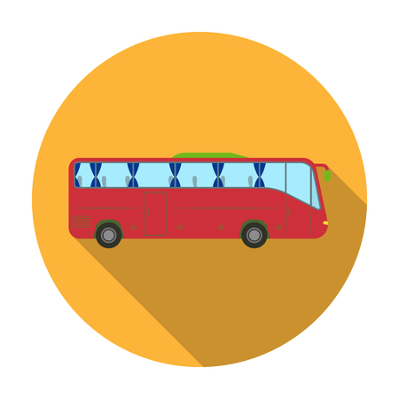 jorney: Green tour bus icon in flat style isolated on white background. Rest and travel symbol stock vector illustration.