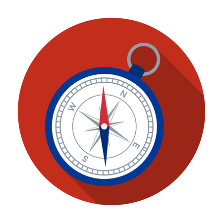 Compass icon in flat style isolated on white background. Rest and travel symbol stock vector illustration.