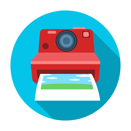 Retro photocamera icon in flat style isolated on white background. Hipster style symbol stock vector illustration.