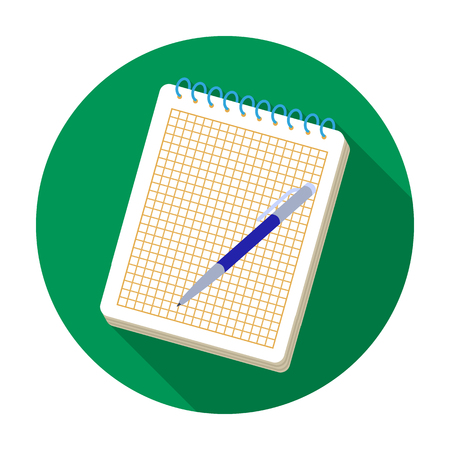 Notebook and pen icon in flat style isolated on white background. Hipster style symbol stock vector illustration.