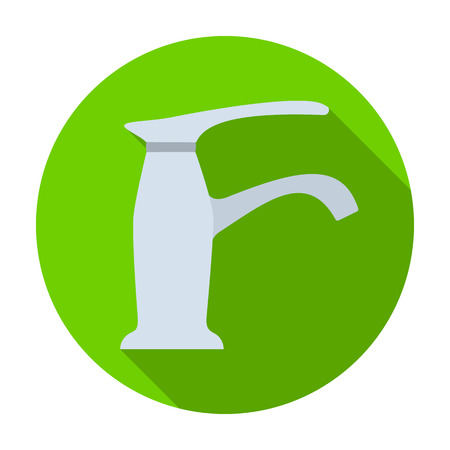 filtración: Faucet icon in flat style isolated on white background. Water filtration system symbol stock vector illustration. Vectores