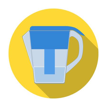 filtración: jarra de agua con el icono del cartucho de filtro en el estilo plano aislado en el fondo blanco. Filtración ilustración símbolo de sistema de la serie de vectores.