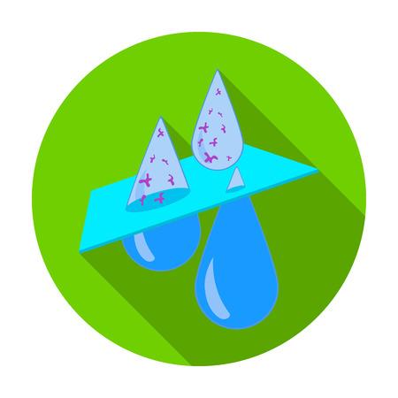 Waterfiltratie icoon in vlakke stijl op een witte achtergrond. Water filtratie-systeem symbool stock vector illustratie.