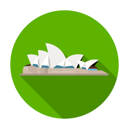 sydney skyline: Sydney Opera House icon in flat style isolated on white background. Countries symbol stock vector illustration.