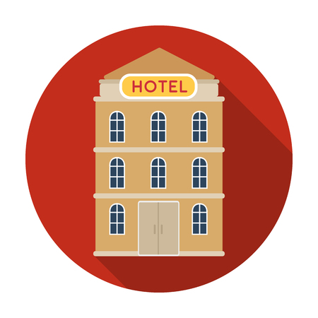 apartment bell: Hotel building icon in flat design isolated on white background. Rest and travel symbol stock vector illustration.