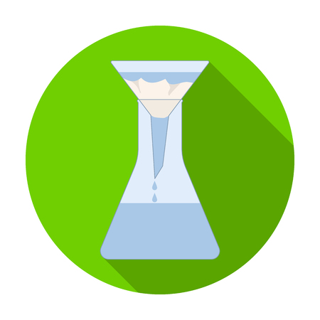 filtración: Filtration of water solution in a conical flask icon in flat style isolated on white background. Water filtration system symbol stock vector illustration. Vectores