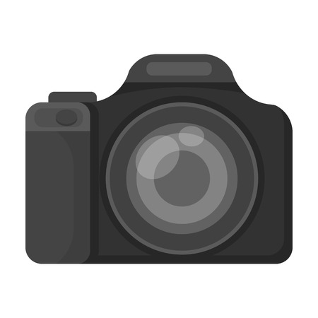 jorney: Digital camera icon in monochrome style isolated on white background. Rest and travel symbol stock vector illustration. Illustration