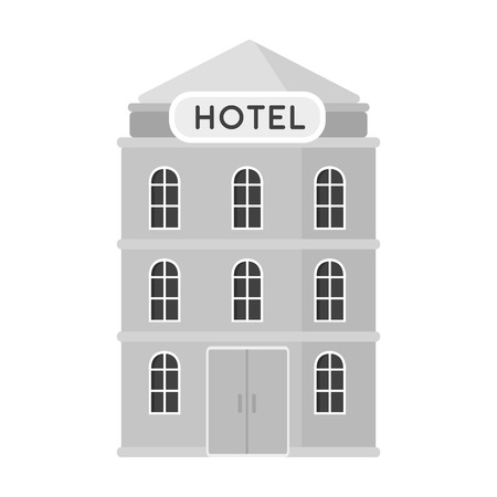 apartment bell: Hotel building icon in monochrome style isolated on white background. Rest and travel symbol stock vector illustration.