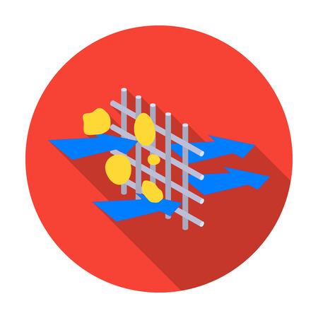 filtración: La filtración del agua a través de icono de filtro carbónico en diseño plano aislado en el fondo blanco. Filtración ilustración símbolo de sistema de la serie de vectores.