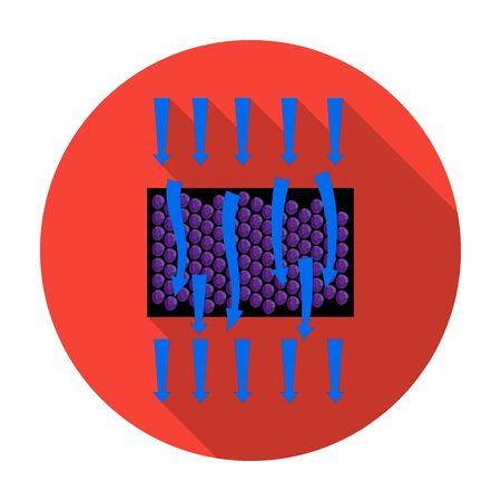 filtración: La filtración del agua a través de icono de filtro carbónico en estilo plano aislado en el fondo blanco. Filtración ilustración símbolo de sistema de la serie de vectores.