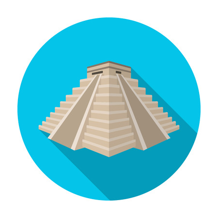 american history: Chichen Itza icon in flat style isolated on white background. Countries symbol stock vector illustration.