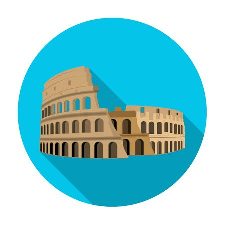 Colosseum in Italy icon in flat style isolated on white background. Countries symbol stock vector illustration.
