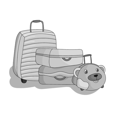 straps: Luggage icon in monochrome style isolated on white background. Family holiday symbol stock vector illustration.