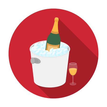 Champagne bottle in an ice bucket icon in flat desgn isolated on white background. France country symbol stock vector illustration. Illustration