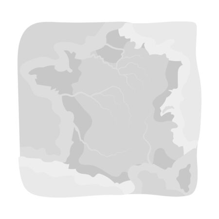 terrain: Territory of France icon in monochrome style isolated on white background. France country symbol stock vector illustration.
