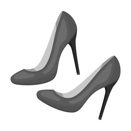 Shoes with stiletto heel icon in monochrome desgn isolated on white background. France country symbol stock vector illustration. - stock vector