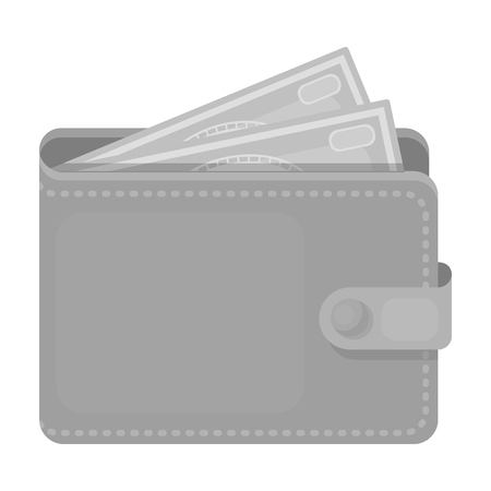 jorney: Wallet with cash icon in monochrome design isolated on white background. Rest and travel symbol stock vector illustration. Illustration