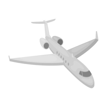 jorney: Airplane icon in monochrome style isolated on white background. Rest and travel symbol stock vector illustration.