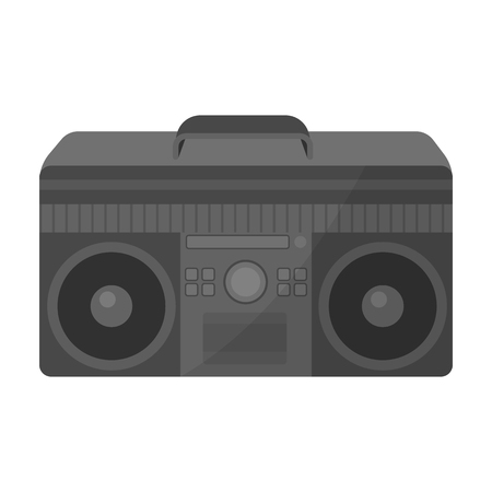 boombox: Boombox icon in monochrome style isolated on white background. Hipster style symbol stock vector illustration.