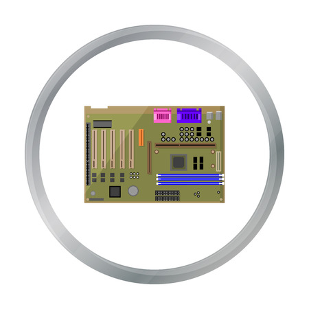 diskette: Motherboard icon in cartoon style isolated on white background. Personal computer symbol stock vector illustration.