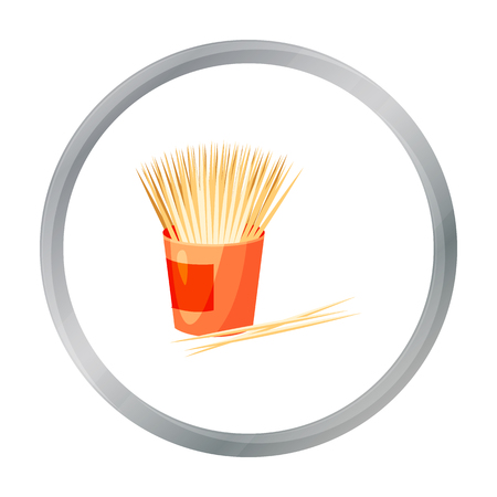 Toothpicks icon in cartoon style isolated on white background. Dental care symbol stock vector illustration.