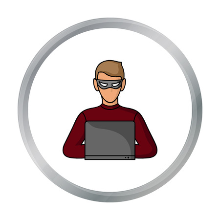 stealing data: Hacker icon in cartoon style isolated on white background. Crime symbol stock vector illustration. Illustration