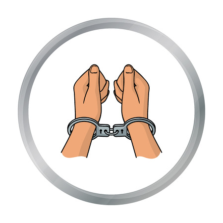 Hands in handcuffs icon in cartoon style isolated on white background. Crime symbol stock vector illustration.
