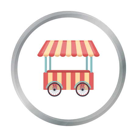 Snack cart icon in cartoon style isolated on white background. Circus symbol stock vector illustration.
