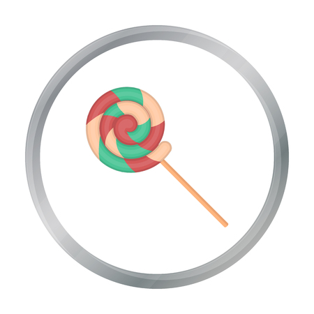 summer's: Lollipop icon in cartoon style isolated on white background. Circus symbol stock vector illustration.