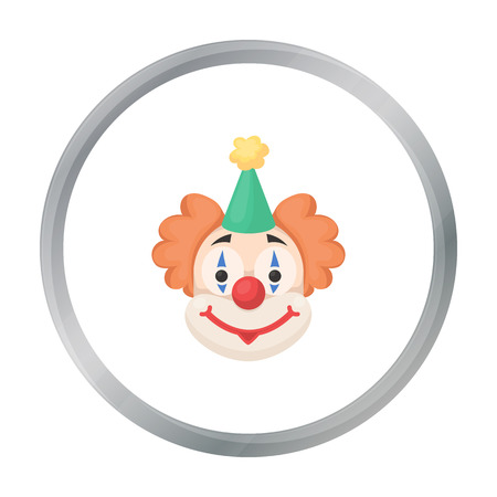 Clown icon in cartoon style isolated on white background. Circus symbol stock vector illustration.