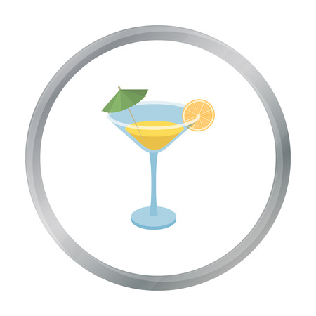 Lemon cocktail icon in cartoon style isolated on white background. Brazil country symbol stock vector illustration.