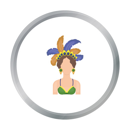 brazilian ethnicity: Samba dancer icon in cartoon style isolated on white background. Brazil country symbol stock vector illustration. Illustration
