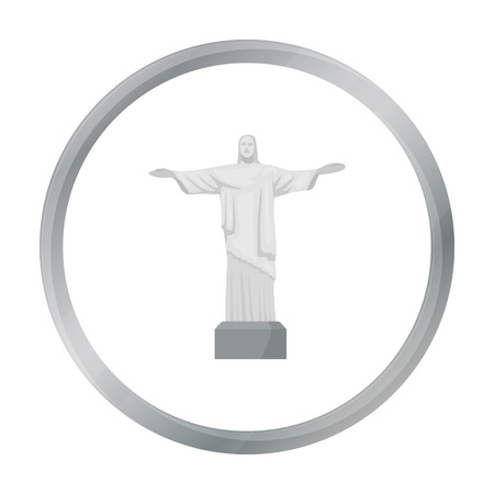 redeemer: Christ the Redeemer icon in cartoon style isolated on white background. Brazil country symbol stock vector illustration.