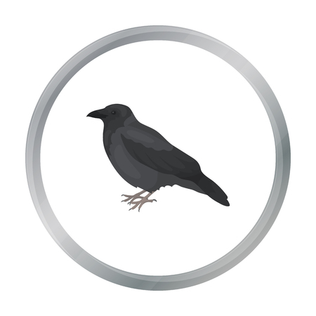 corvus: Crow icon in cartoon style isolated on white background. Bird symbol stock vector illustration.
