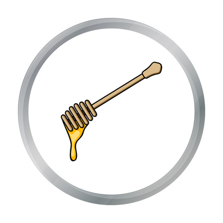dipper: Honey dipper icon in cartoon style isolated on white background. Apiary symbol stock vector illustration