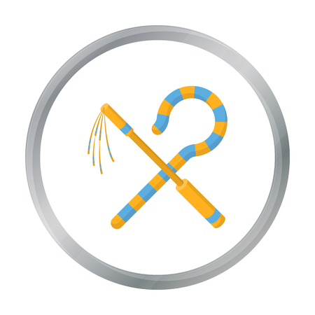 Crook and flail icon in cartoon style isolated on white background. Ancient Egypt symbol stock vector illustration. Illustration