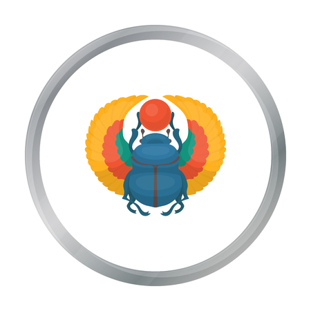 horus: Scarab icon in cartoon style isolated on white background. Ancient Egypt symbol stock vector illustration. Vectores