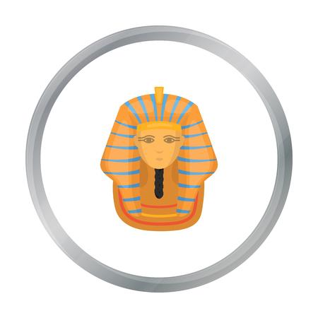 Pharaohs golden mask icon in cartoon style isolated on white background. Ancient Egypt symbol stock vector illustration. Illustration