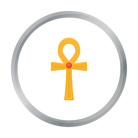ankh cross: Ankh icon in cartoon style isolated on white background. Ancient Egypt symbol stock vector illustration.