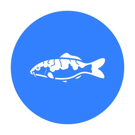 hokusai: Carp-koi fish icon black. Singe aquarium fish icon from the sea,ocean life black. Illustration