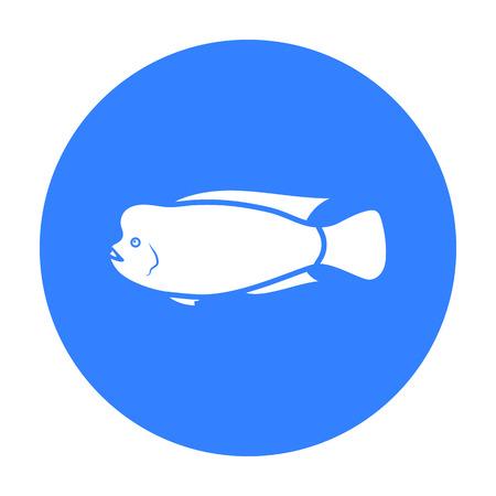cichlid: Stearocranus fish icon black. Singe aquarium fish icon from the sea,ocean life black.