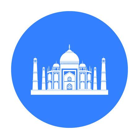 Taj Mahal icon in black style isolated on white background. India symbol stock vector illustration.