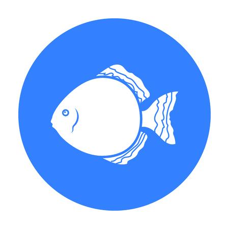 cichlid: Discus fish icon black. Singe aquarium fish icon from the sea,ocean life black.