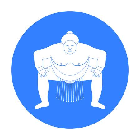Sumo wrestler icon in black style isolated on white background. Japan symbol stock vector illustration. Illustration
